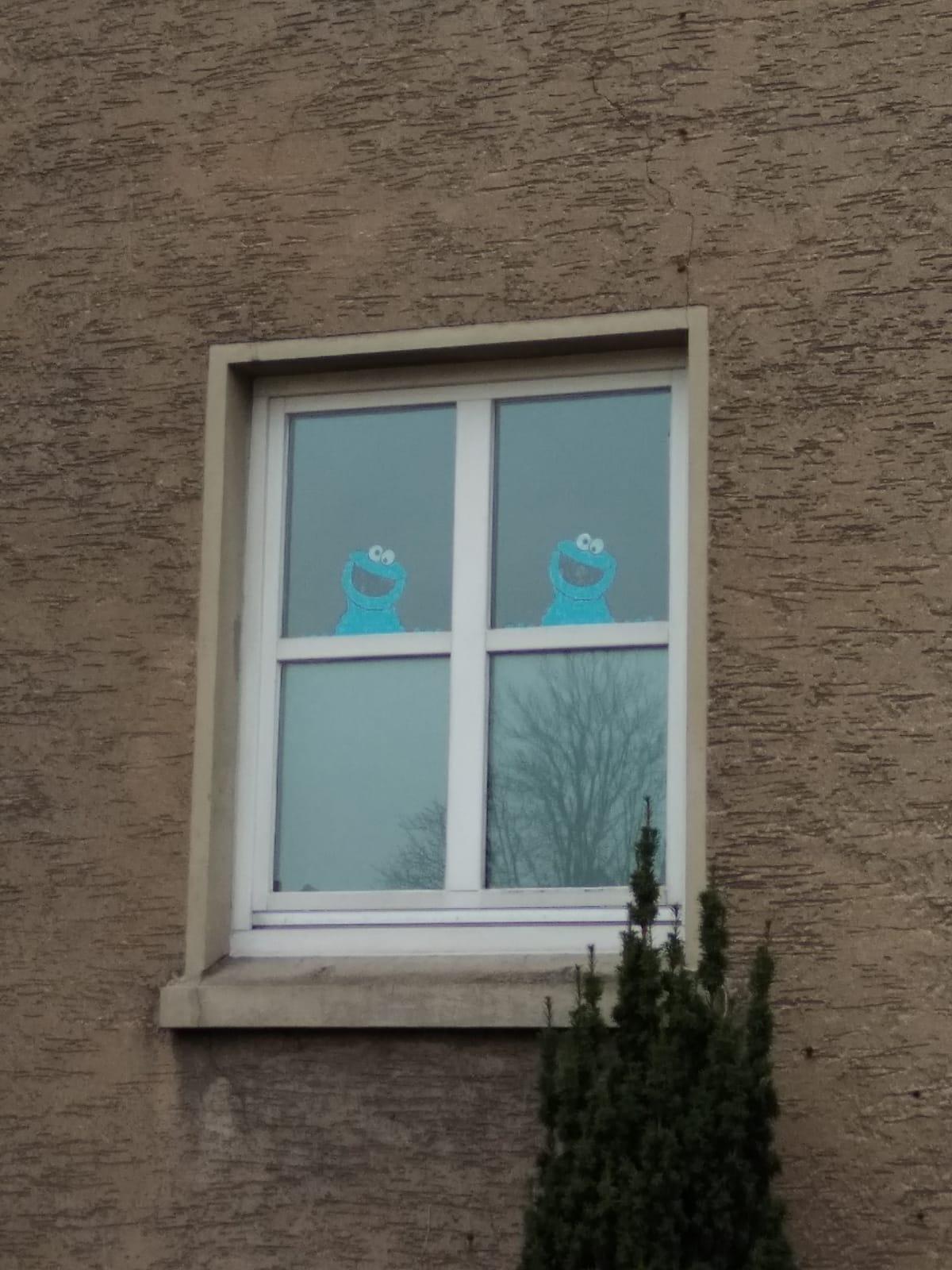 Fenster mit Krümelmonster Bildern Kindertagesstätte (Kita) die Krümelmonster aus Neustadt am Rübenberge